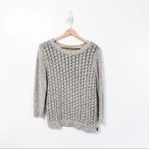 Lou & Grey Gray Textured Knit Crewneck Sweater